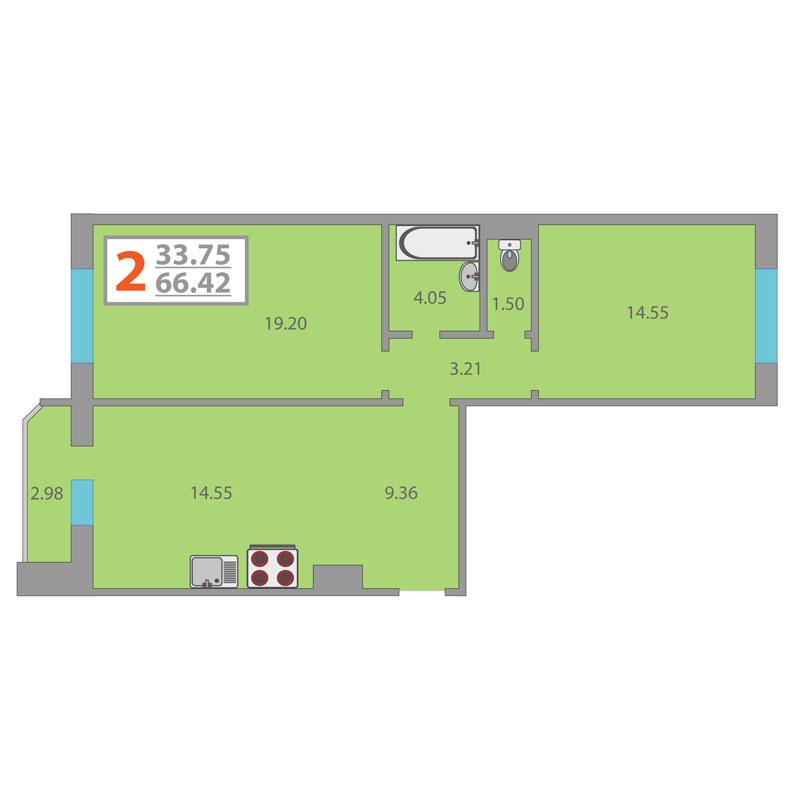 Продажа 2-комнатной квартиры, Тюмень, Кремлевская ул,  85