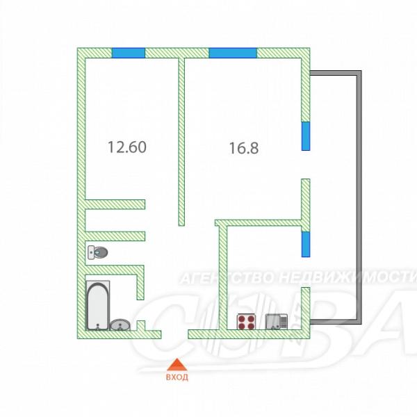 Продажа 2-комнатной квартиры, Тюмень, Пермякова ул,  62