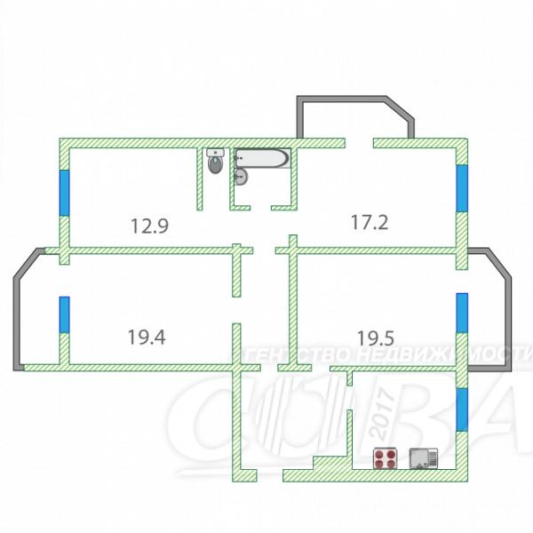 Продажа 4-комнатной квартиры, Тюмень, Холодильная ул,  116