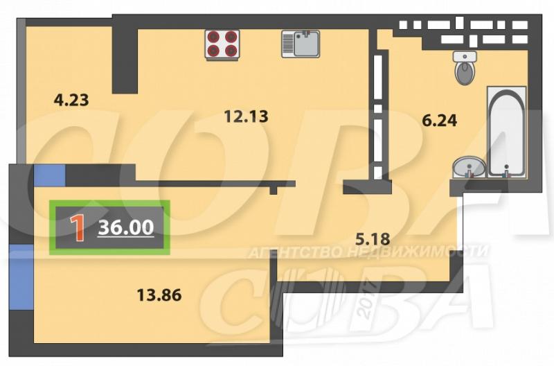 Продажа 1-комнатной квартиры, Тюмень, Монтажников ул,  61