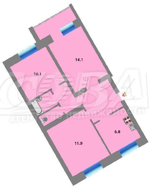 Продажа 3-комнатной квартиры, Тюменская, Ленина Проспект ул,  13