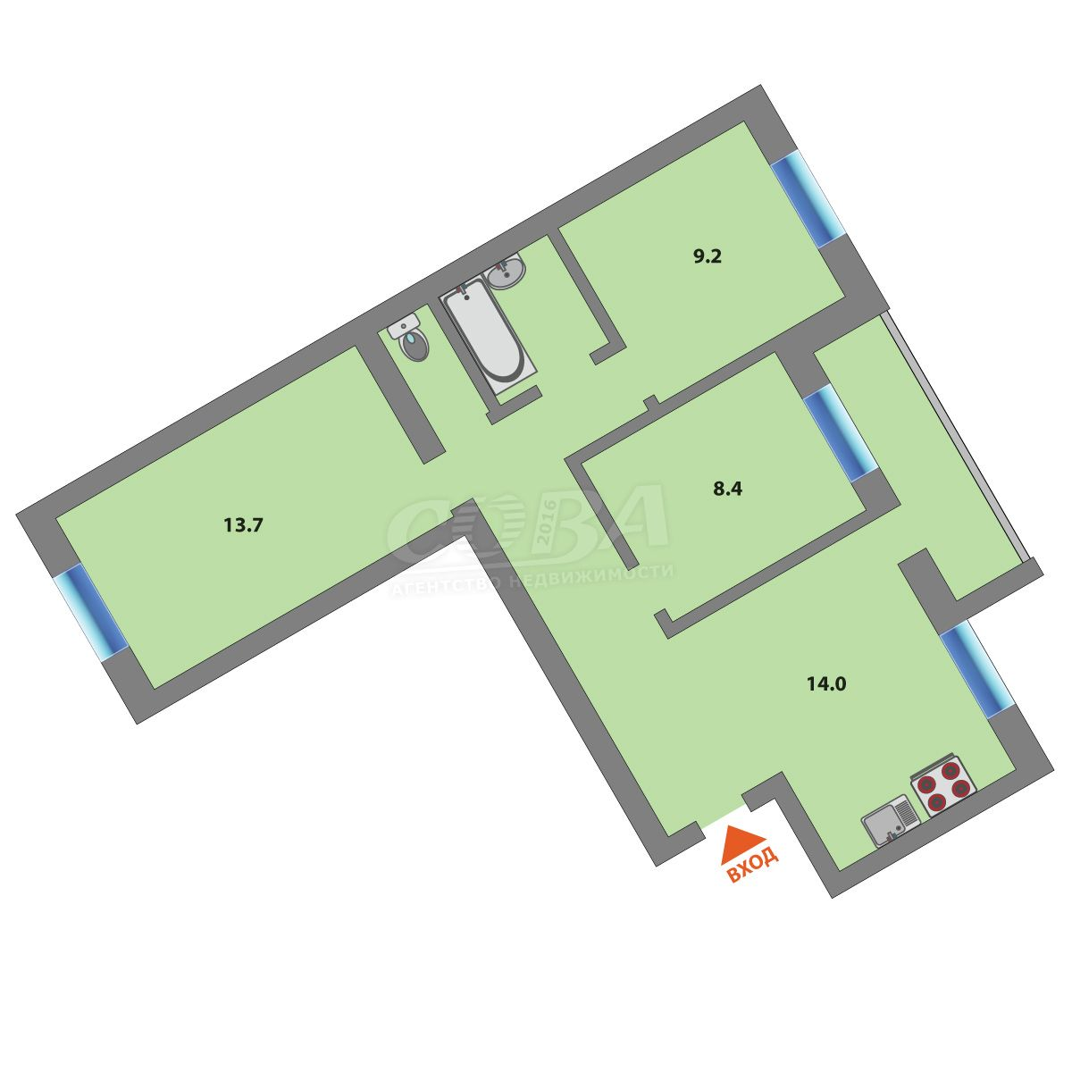 Продажа 3-комнатной квартиры, Тюмень, Циолковского ул,  15А