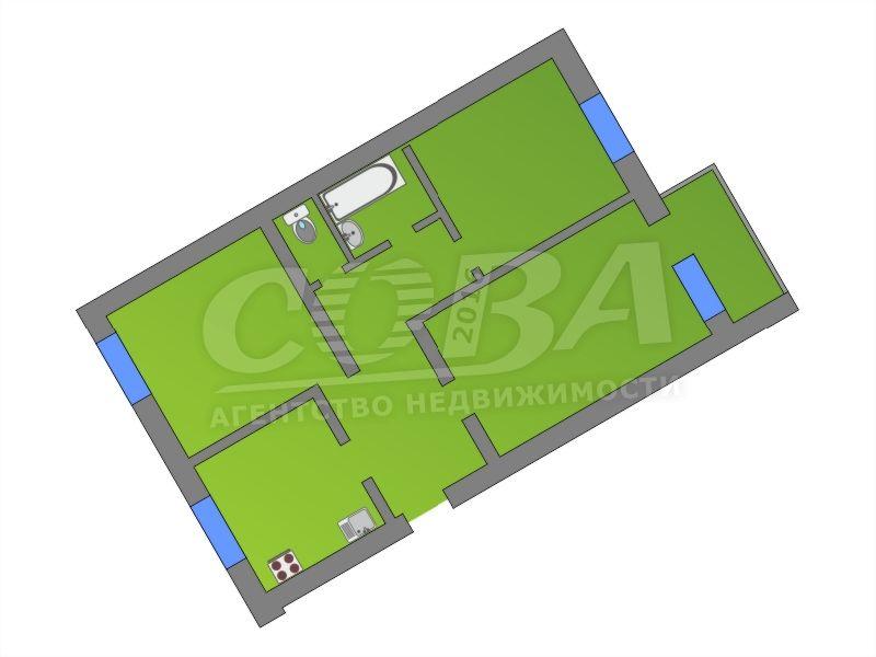 Продажа 3-комнатной квартиры, Тюмень, Ямская ул,  57