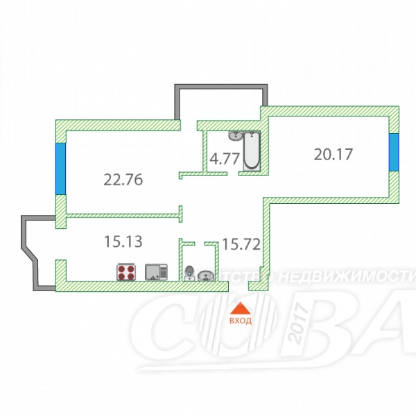 Продажа 2-комнатной квартиры, Тюменская, Ленина Проспект ул,  18