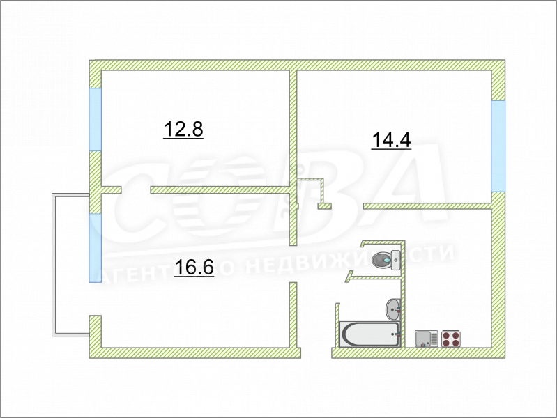 Продажа 3-комнатной квартиры, Тюмень, Военная ул,  23